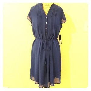 Royal Blue Sheer Pleat Front Tie-Around Dress
